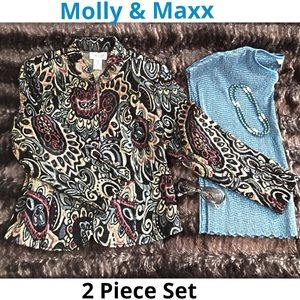 Molly & Maxx 2 Piece Blazer Jacket & Top Size MP